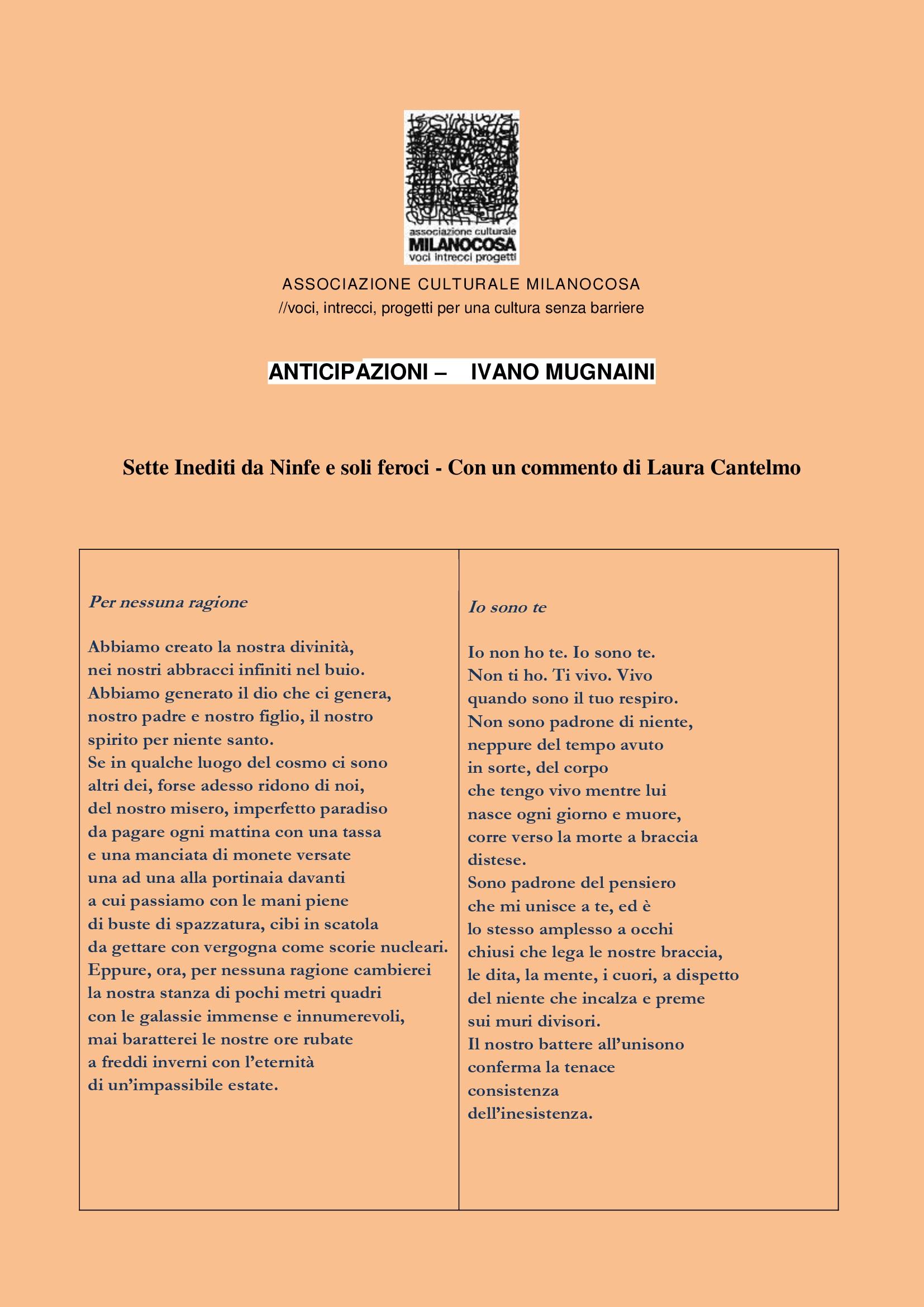 Anticipazioni sito Milanocosa - Ivano Mugnaini